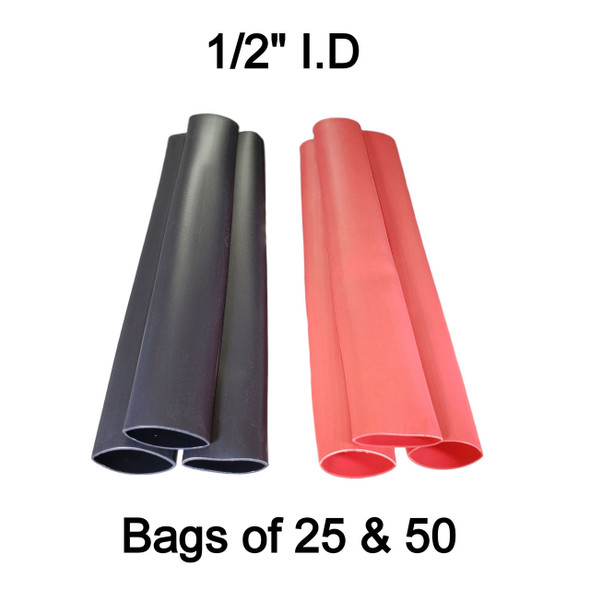 """1/2"""" 3:1 Dual Wall Heat Shrink Tube - 6 Inch Lengths - Adhesive Lined"""