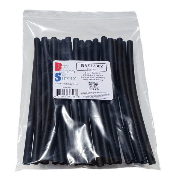 """Bag of 25 Black 1/4"""" 3:1 Dual Wall Heat Shrink Tube -6 Inch Sections - Adhesive Lined"""