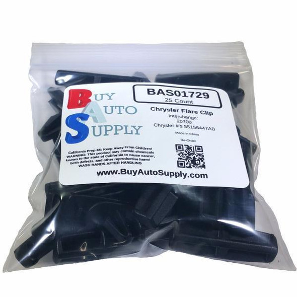 Bag of Chrysler 10MM Black Moulding Clip - Interchange: Auveco 20700 Dorman 963-525 Chrysler 55156447AB