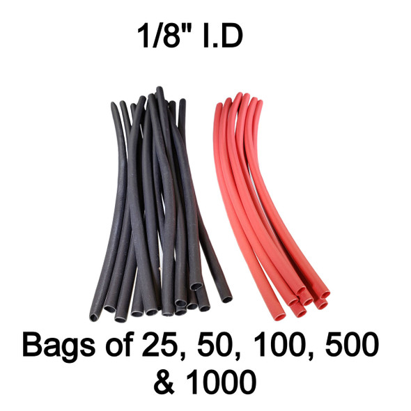 3:1 Dual Wall Heat Shrink Tube 1/8 inch - 6 inch lengths - Black or Red