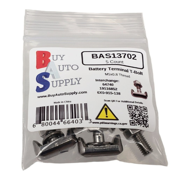 Bag of 5 Battery Terminal T Bolts Stainless