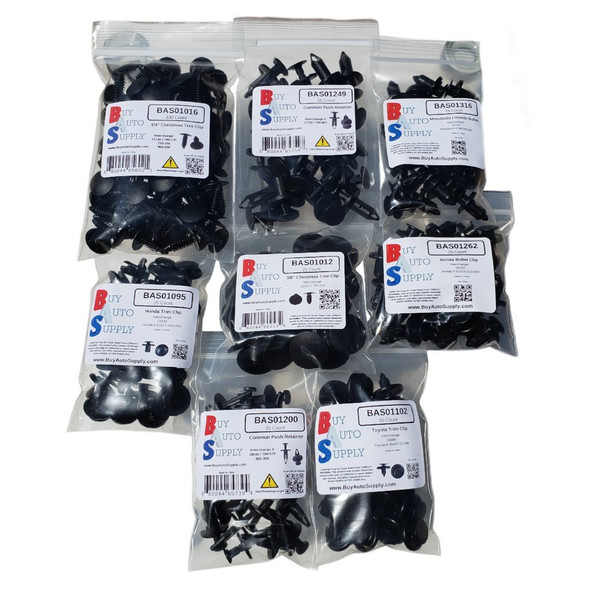 Bags of clips in the automotive starter kit of clips, 275 clips total.