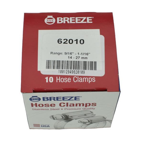 """#10 Hose Clamp - 9/16"""" to 1-1/16"""" (62010)"""