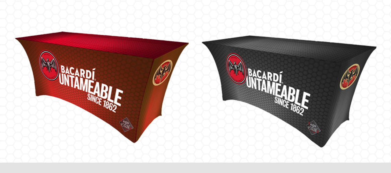 Red and black Bacardi logo tablecloths