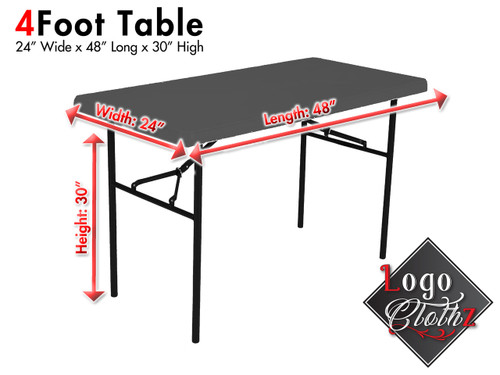 4 foot standard height table 30 inches tall