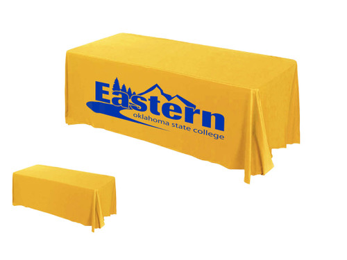 Golden rod fabric color with royal blue logo print