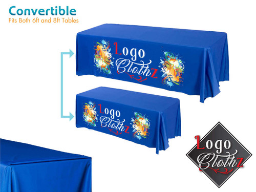 Full-color printed 6 foot to 8 foot convertible table cover