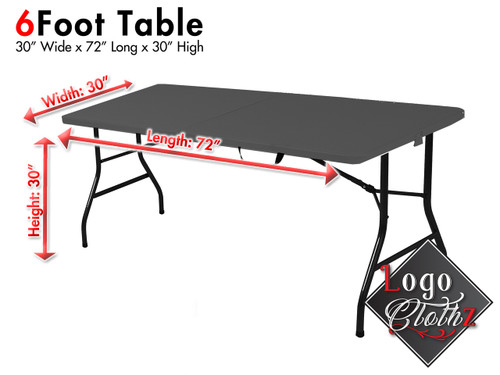 Your printed tablecloth will fit the following size table