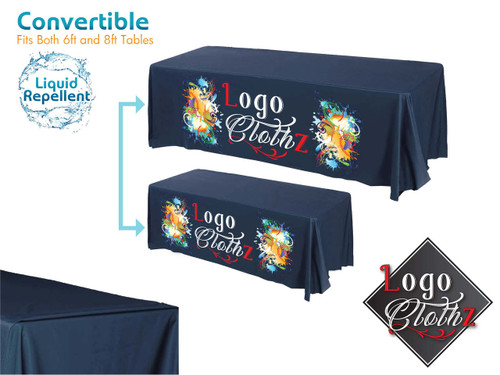 Navy Blue custom printed convertible table cover