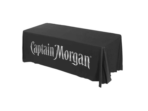 promotional branded table cover metallic silver print