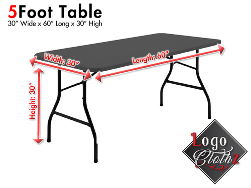 5 foot table dimensions for your printed table cover