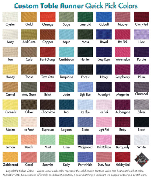 "71 fabric colors for your printed table runner 60"" wide"