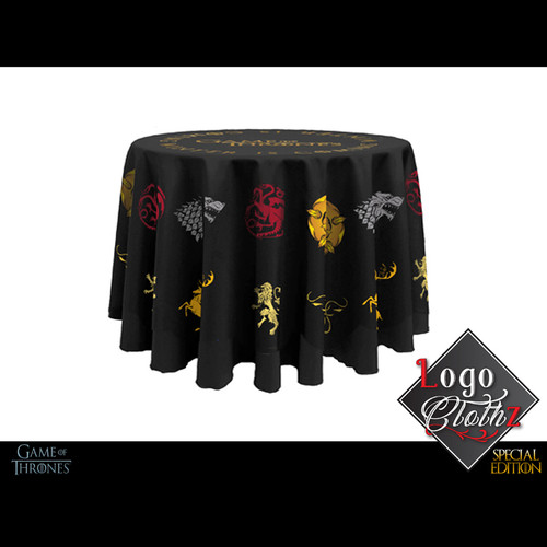 branded table covers round white label service