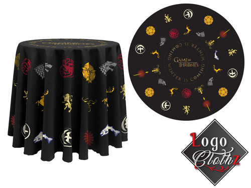 black round custom printed table cover