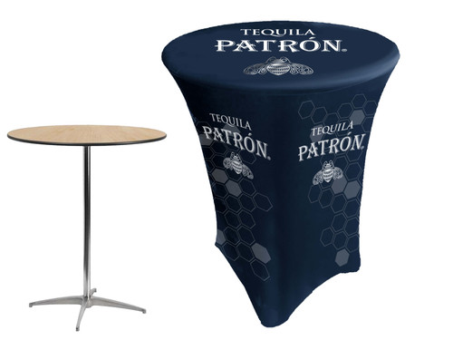 polyester spandex stretch table covers with liquor logo