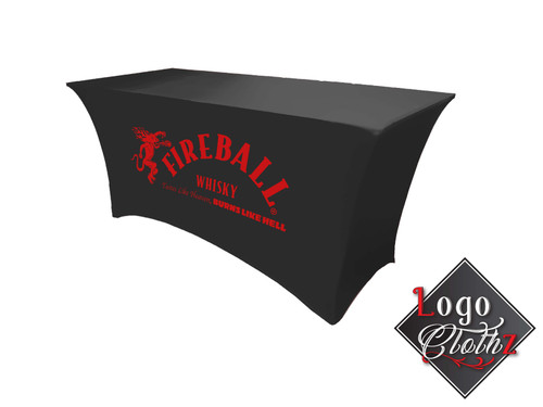 Black stretch table cover with red fireball logo