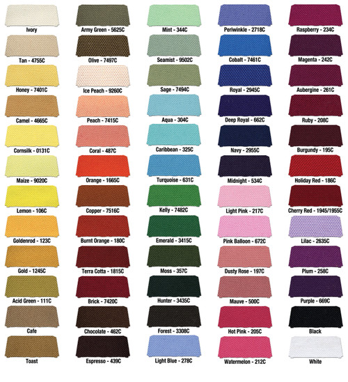60 available stock fabric colors