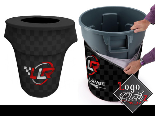 logo printed trash can covers 44 gallon black and red