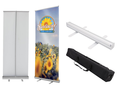 Roll up fabric banner and stand set