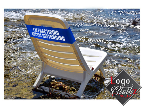 Chair band with social distancing warning