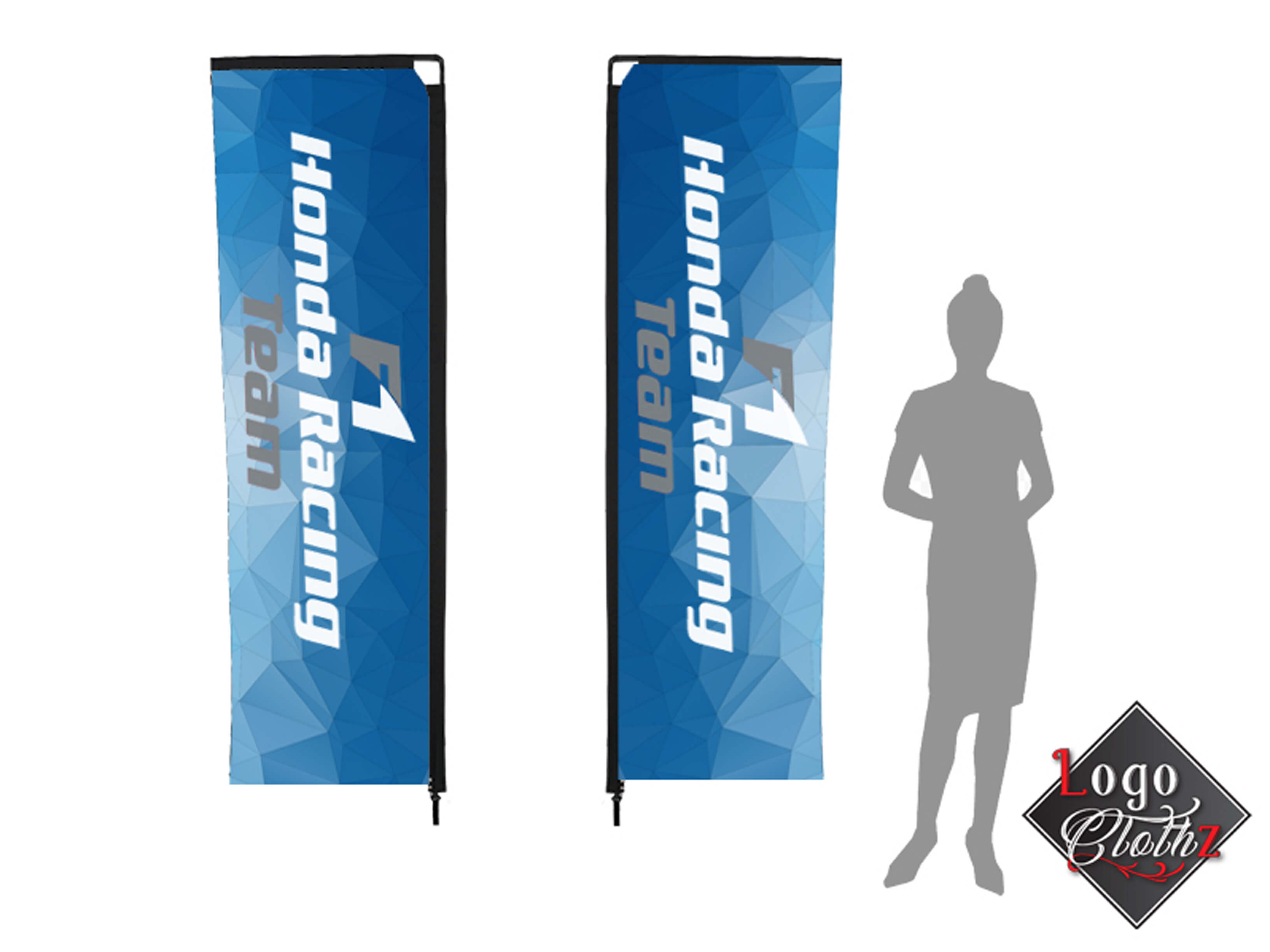 shadow lady standing by advertising flags