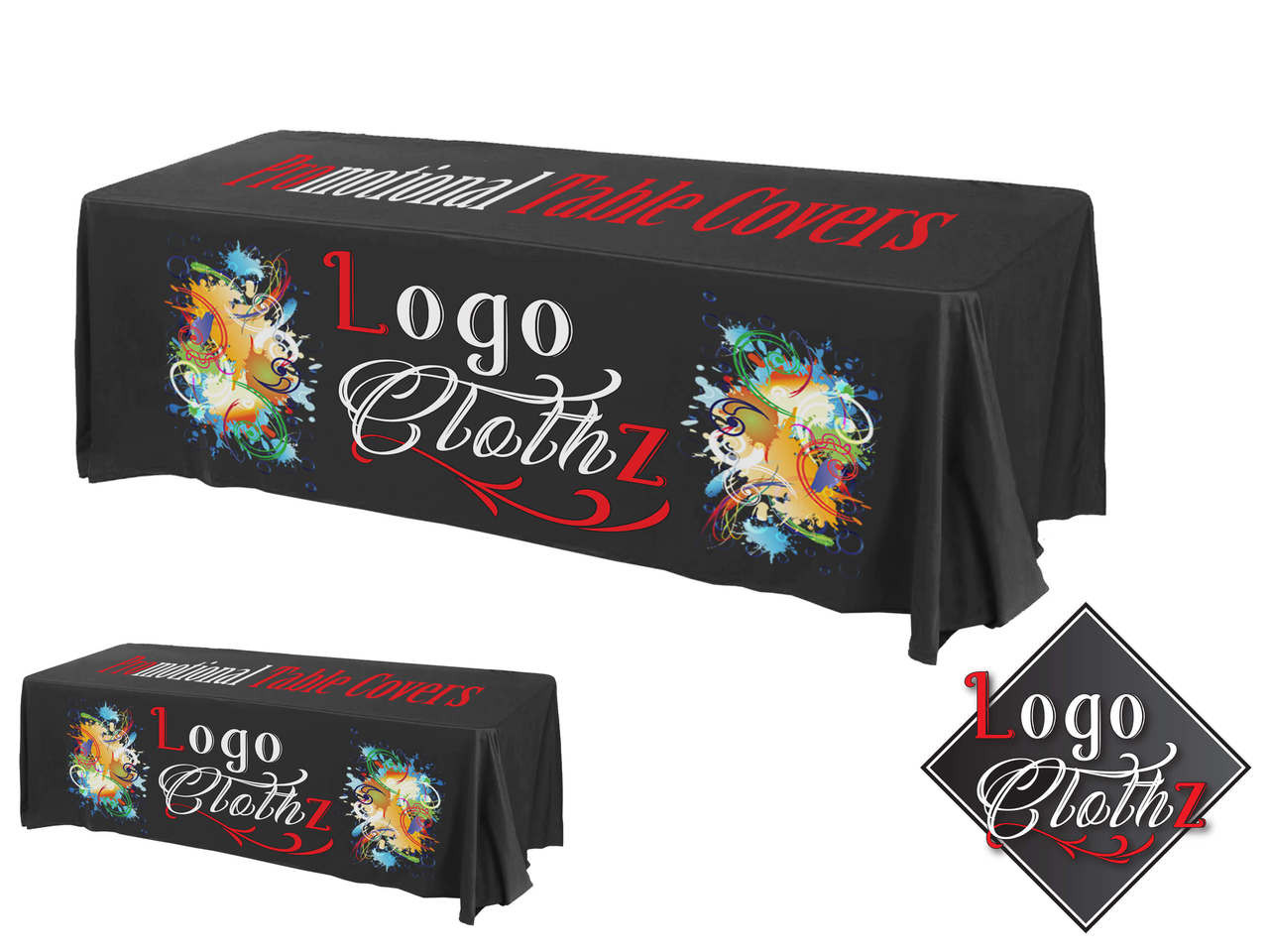 194 & 8\u0027 Trade Show Table Cover - All Over Imprint - 3 or 4 Sided