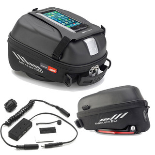Givi ST605 Tanklock 5L Motorcycle Tank Bag, phone holder & 3 Port USB Power Hub