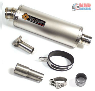 Lextek OP1 Stainless Steel Oval Exhaust with Link Pipe for Sinnis Apache 125