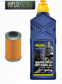 KTM 250 EXC-F, SX-F & XCF, Putoline Nano Tech 10W50 & HiFlo HF655 Oil Filter