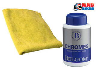 Belgom Chroom, Chrome Cleaner Polish & Wax 250ml + Micro fibre polishing cloth