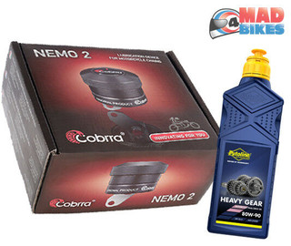 Cobrra Nemo 2 Automatic Motorcycle Motorbike Chain Oiler Kit Universal, Free Oil