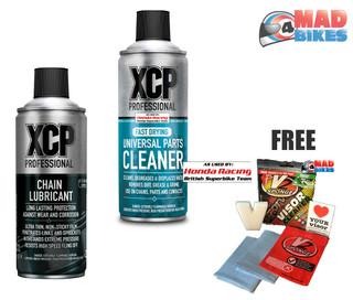 XCP Chain Lube Premium Quality Non Fling Lube 400ml & XCP Parts Cleaner 400ml