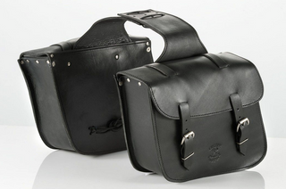 KAPPA CU500 Pair of Black Leather Custom Motorcycle Panniers / SaddleBags