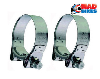 Heavy Duty Mikalor Stainless Steel Motorcycle Exhaust Clamps Banjo Clips 47-51mm