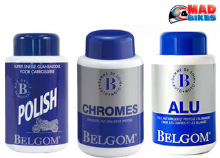 Belgom Alu, Chrome, Polish 3 Bottle Set For Motorcycle Chrome, Aluminium & Paint