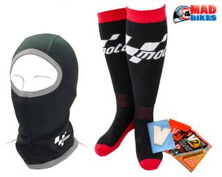 MotoGP Knee Length Winter Thermal Socks & Motogp Balaclava + V2 Visor Cleaner