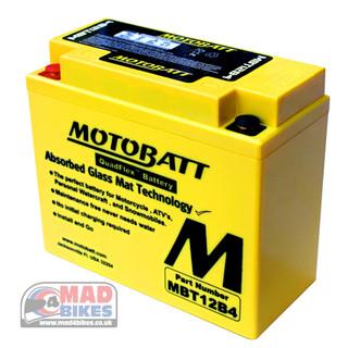 Motobatt MBT12B4 AGM Battery replaces YT12B-BS, YT12B-4