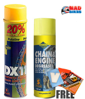 Putoline DX11 Motocross MX Motorbike Chain Lube 600ml & Chain Cleaner 500ml Pack