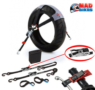ACEBIKES Complete Motorcycle Motorbike Tie Down System, Ratchet Straps, Tyre Fix