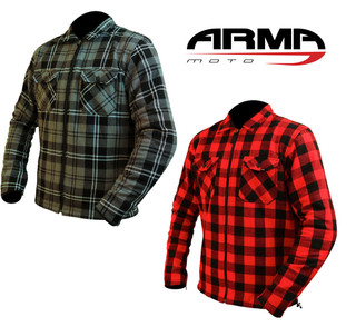 Motorcycle Checked Shirt By ARMR With Aramid C.E Armour Protection Custom Bike