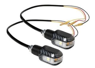 LED Motorcycle Handlebar End Weights 3 Function Indicators Carbon Look Aluminium