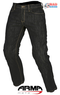 Mens Motorcycle Jeans By ARMR Aramid Reinforced Denim Trousers Ce Armour Black.