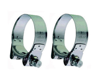 KAWASAKI ZZR600 (1990-01) STAINLESS STEEL EXHAUST SILENCER CLAMPS (PAIR)