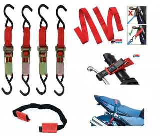 ULTIMATE MOTORCYCLE  MOTORBIKE TIE DOWN SYSTEM, EASY STRAPS & RATCHET STRAPS ETC
