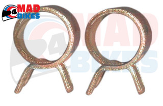 2 X MOTORCYCLE FUEL HOSE / PETROL PIPE CLIPS 8mm TO USE WITH 4mm I.D. FUEL PIPE