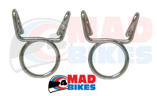 2 X MOTORCYCLE FUEL HOSE / PETROL PIPE CLIPS 12mm TO USE WITH 8mm I.D. FUEL PIPE