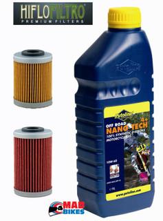 KTM EXC 250,400,450,520,525,Putoline Nano Tech 10W60 & Both HiFlo Oil Filters