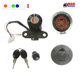 APRILIA RS125 LOCK SET, IGINITION SWITCH, PETROL CAP, SEAT LOCK. (4 WIRE)
