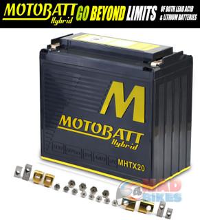 Motobatt Hybrid MHTX20 Lithium / Lead Acid Motorcycle Battery Replaces MBTX20UHD