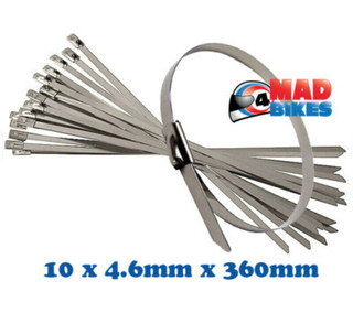 10 x S Steel Cable Ties Ideal for MX, Enduro, Motocross, Exhaust Guard / Repairs